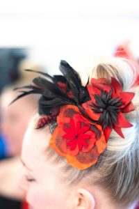 red and black flower headpiece