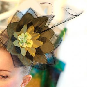 Flower headpiece made of green parachute fabric