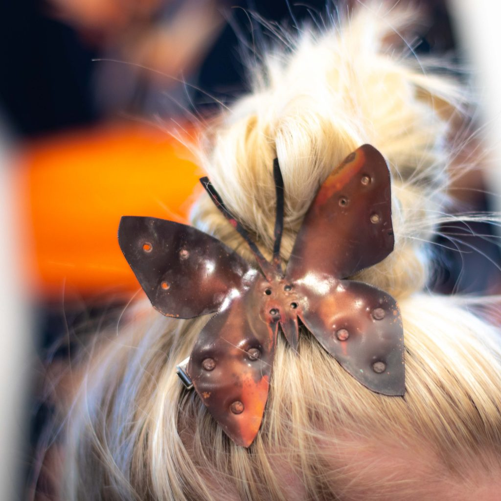 copper butterfly hairclip