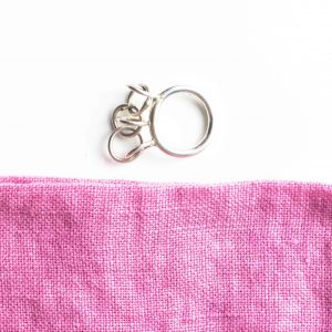 silver Circles Jingly Ring with pink fabric