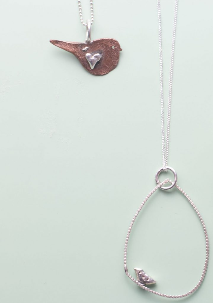 Copper Bird And Silver Hoop Necklaces With Bird In A Cage ring