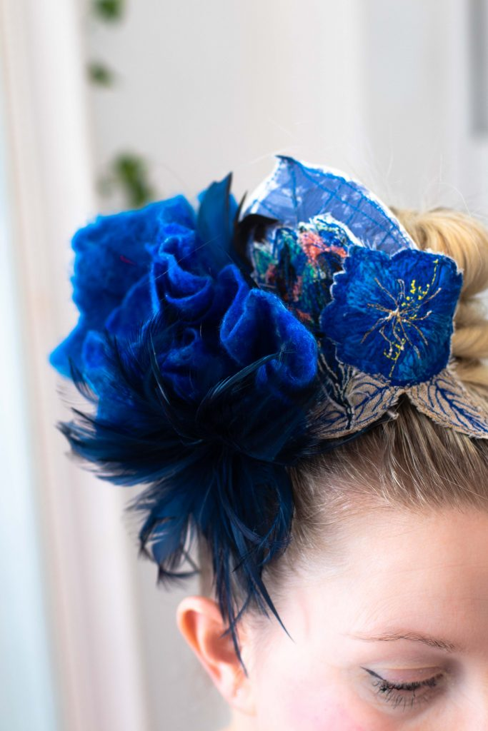 blue felted and embroidered flowers headpiece