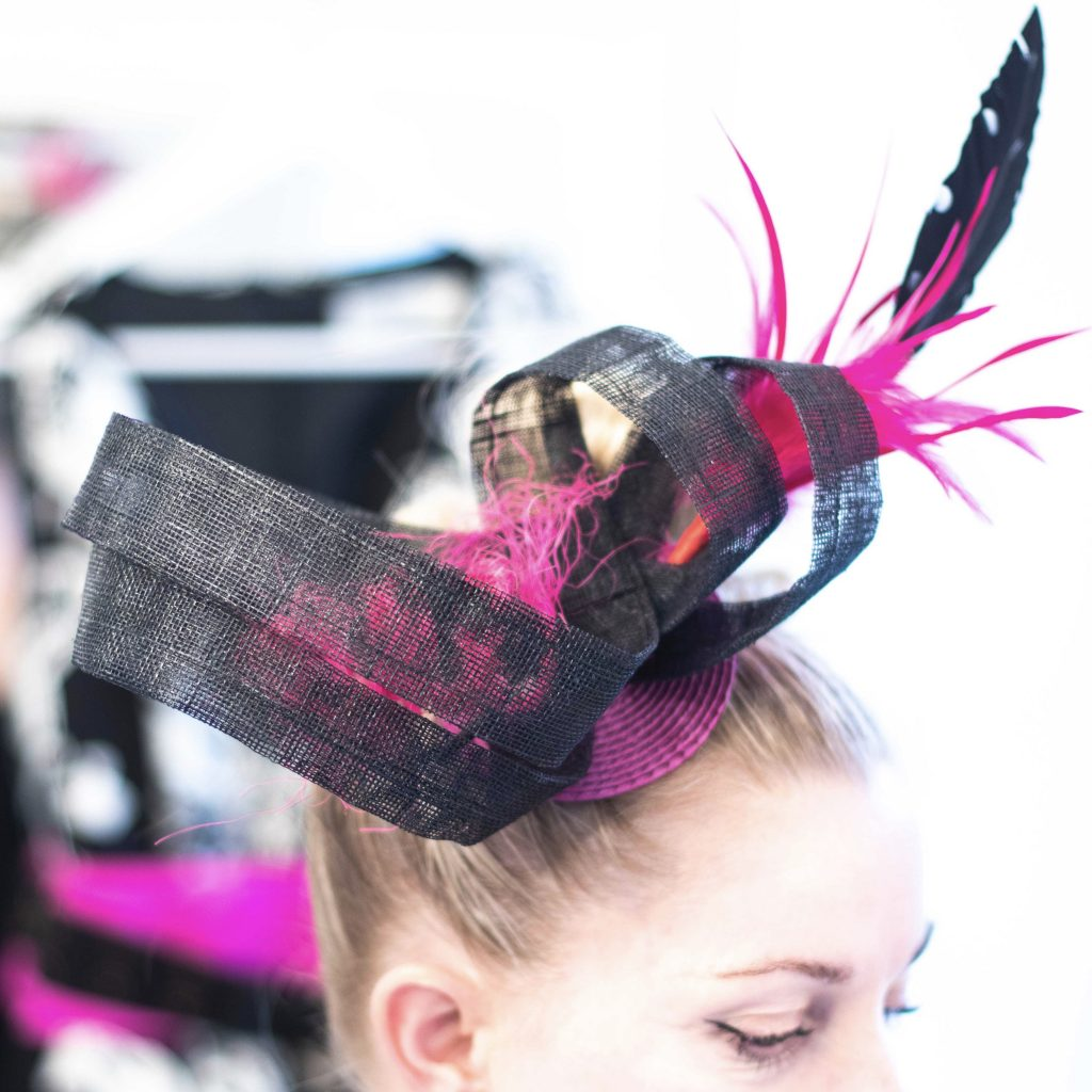 black pink spotty fascinator