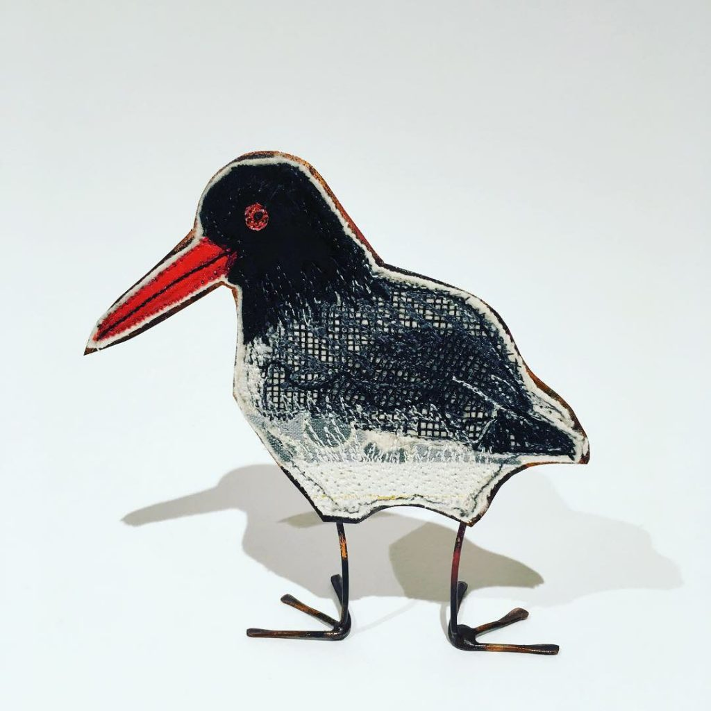 Embroidered oystercatcher with copper body