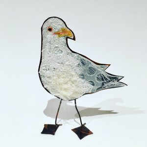 Embroidered seagull with copper body